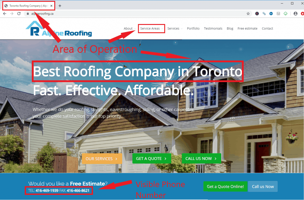 Website Locality for roofing seo