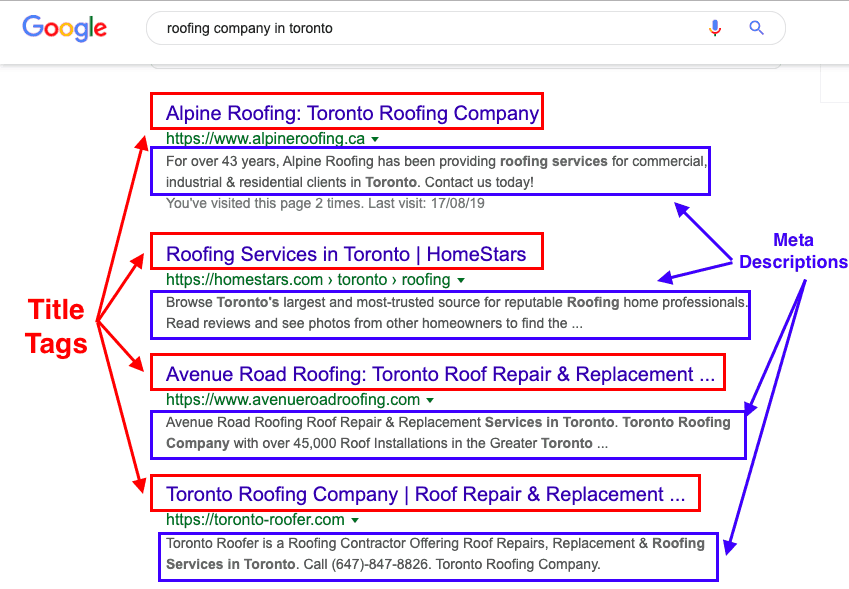 optimize title tags and meta descriptions for roofing SEO